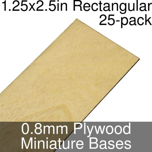 Miniature Bases, Rectangular, 1.25x2.5inch, 0.8mm Plywood (25) - LITKO Game Accessories