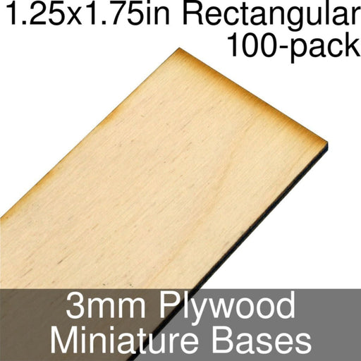 Miniature Bases, Rectangular, 1.25x1.75inch, 3mm Plywood (100) - LITKO Game Accessories