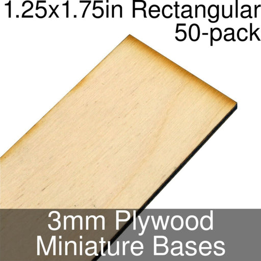 Miniature Bases, Rectangular, 1.25x1.75inch, 3mm Plywood (50) - LITKO Game Accessories