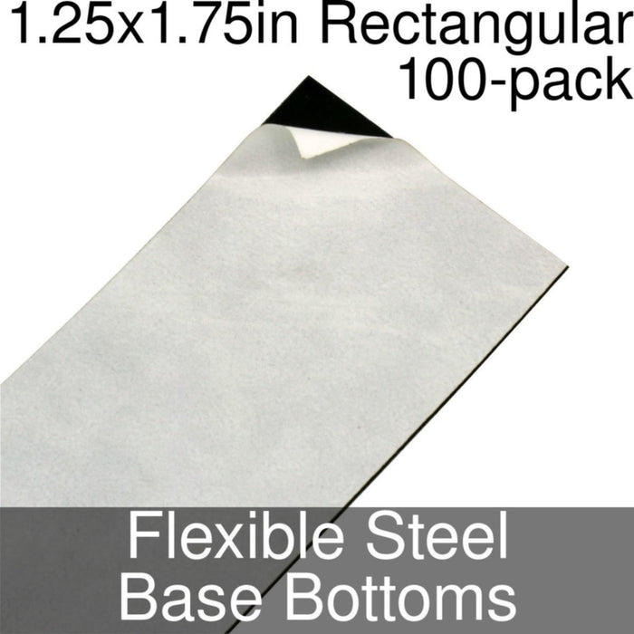 Miniature Base Bottoms, Rectangular, 1.25x1.75inch, Flexible Steel (100) - LITKO Game Accessories