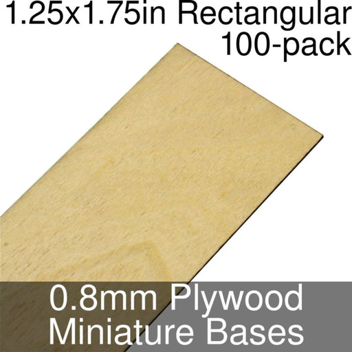 Miniature Bases, Rectangular, 1.25x1.75inch, 0.8mm Plywood (100) - LITKO Game Accessories