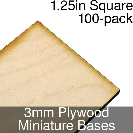 Miniature Bases, Square, 1.25inch, 3mm Plywood (100) - LITKO Game Accessories