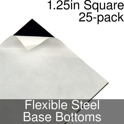 Miniature Base Bottoms, Square, 1.25inch, Flexible Steel (25) - LITKO Game Accessories