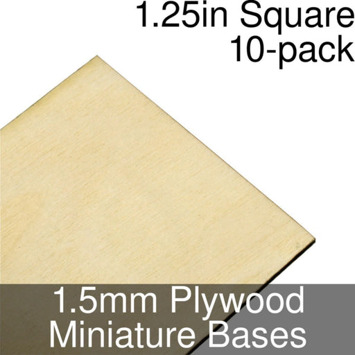 Miniature Bases, Square, 1.25inch, 1.5mm Plywood (10) - LITKO Game Accessories