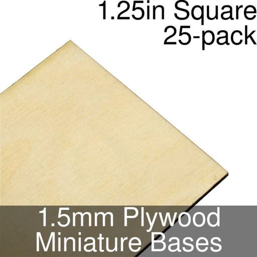 Miniature Bases, Square, 1.25inch, 1.5mm Plywood (25) - LITKO Game Accessories