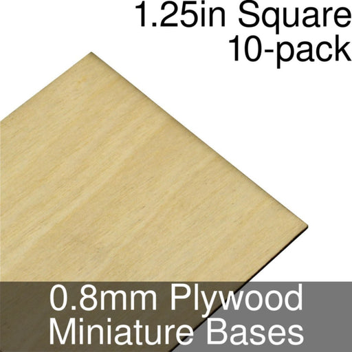 Miniature Bases, Square, 1.25inch, 0.8mm Plywood (10) - LITKO Game Accessories