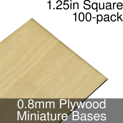 Miniature Bases, Square, 1.25inch, 0.8mm Plywood (100) - LITKO Game Accessories