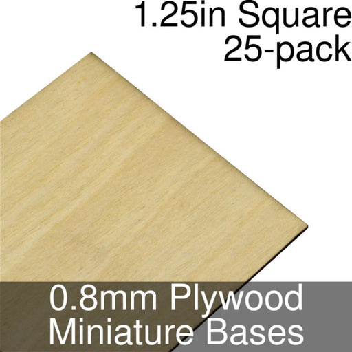 Miniature Bases, Square, 1.25inch, 0.8mm Plywood (25) - LITKO Game Accessories