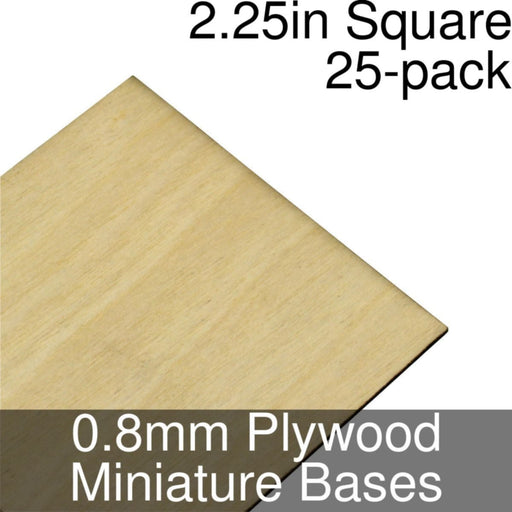 Miniature Bases, Square, 2.25inch, 0.8mm Plywood (25) - LITKO Game Accessories