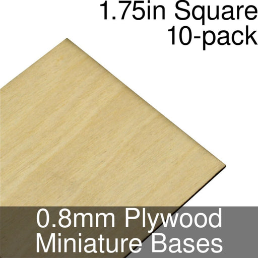 Miniature Bases, Square, 1.75inch, 0.8mm Plywood (10) - LITKO Game Accessories