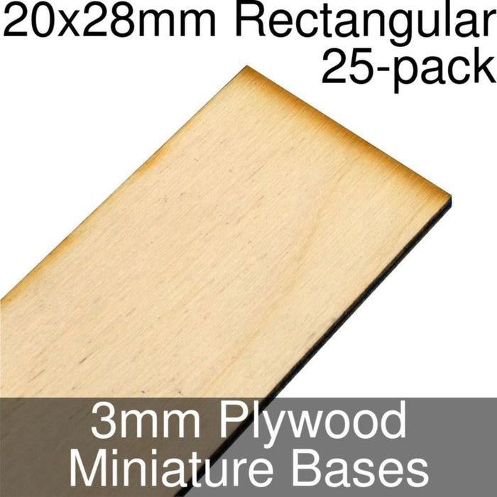Miniature Bases, Rectangular, 20x28mm, 3mm Plywood (25) - LITKO Game Accessories