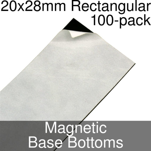 Miniature Base Bottoms, Rectangular, 20x28mm, Magnet (100) - LITKO Game Accessories