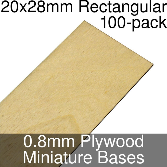 Miniature Bases, Rectangular, 20x28mm, 0.8mm Plywood (100) - LITKO Game Accessories
