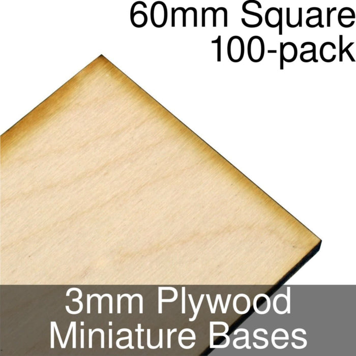 Miniature Bases, Square, 60mm, 3mm Plywood (100) - LITKO Game Accessories