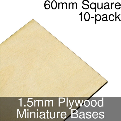 Miniature Bases, Square, 60mm, 1.5mm Plywood (10) - LITKO Game Accessories