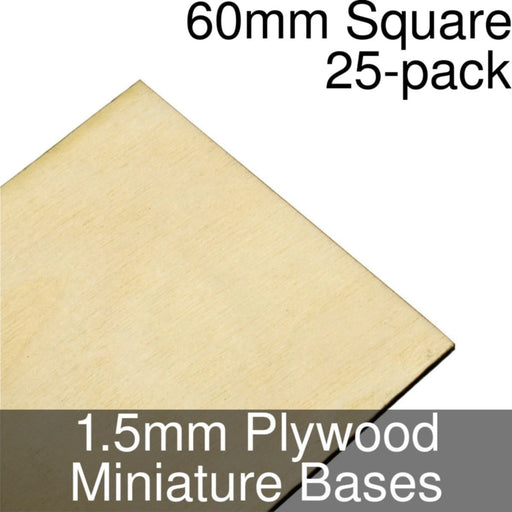 Miniature Bases, Square, 60mm, 1.5mm Plywood (25) - LITKO Game Accessories