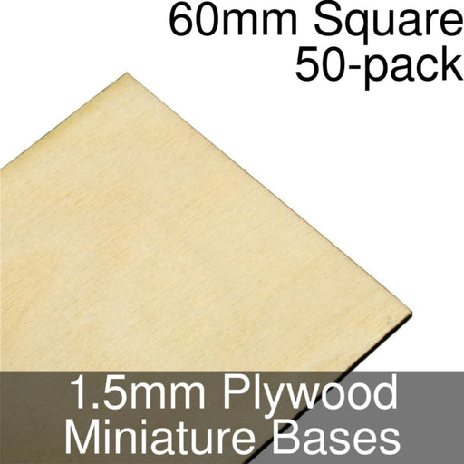 Miniature Bases, Square, 60mm, 1.5mm Plywood (50) - LITKO Game Accessories