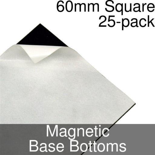 Miniature Base Bottoms, Square, 60mm, Magnet (25) - LITKO Game Accessories