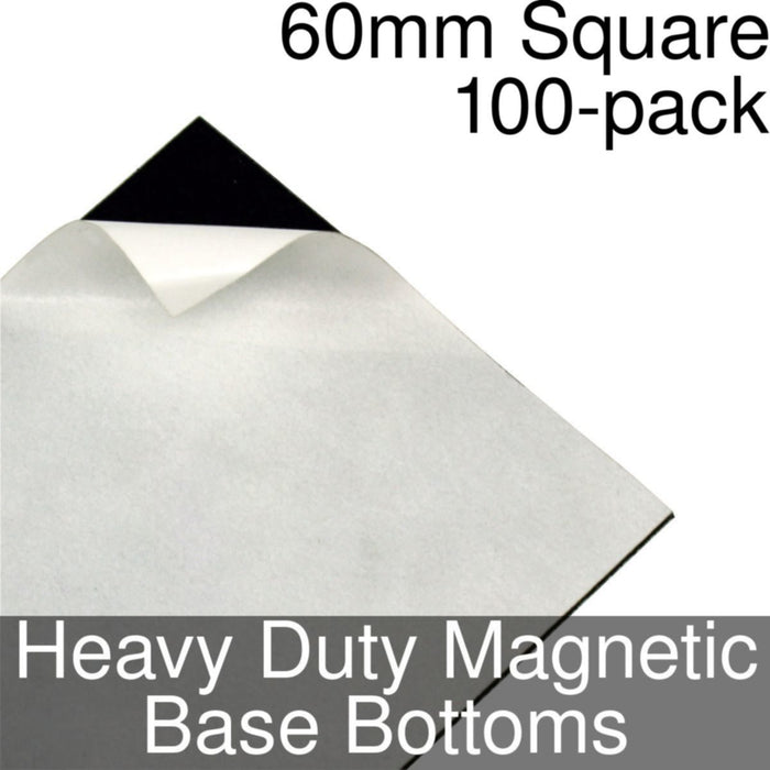 Miniature Base Bottoms, Square, 60mm, Heavy Duty Magnet (100) - LITKO Game Accessories