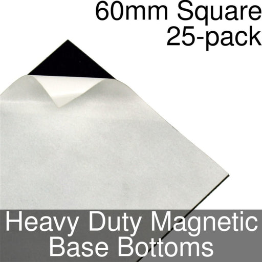 Miniature Base Bottoms, Square, 60mm, Heavy Duty Magnet (25) - LITKO Game Accessories