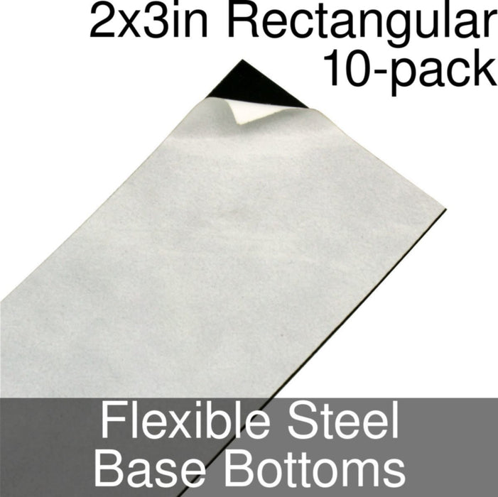 Miniature Base Bottoms, Rectangular, 2x3inch, Flexible Steel (10) - LITKO Game Accessories