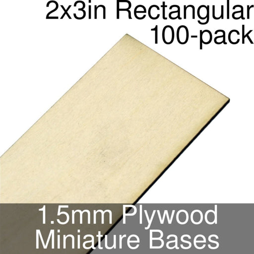 Miniature Bases, Rectangular, 2x3inch, 1.5mm Plywood (100) - LITKO Game Accessories