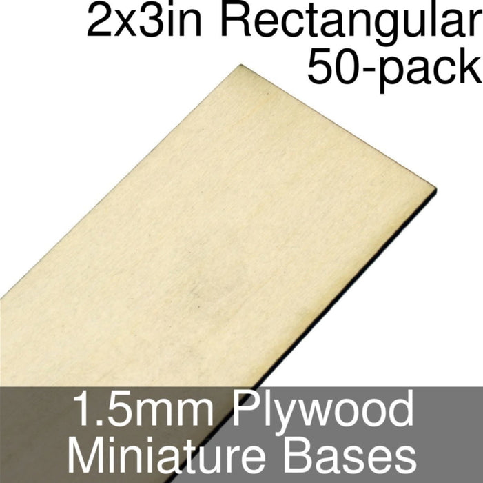 Miniature Bases, Rectangular, 2x3inch, 1.5mm Plywood (50) - LITKO Game Accessories