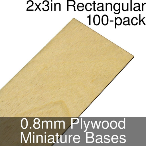 Miniature Bases, Rectangular, 2x3inch, 0.8mm Plywood (100) - LITKO Game Accessories