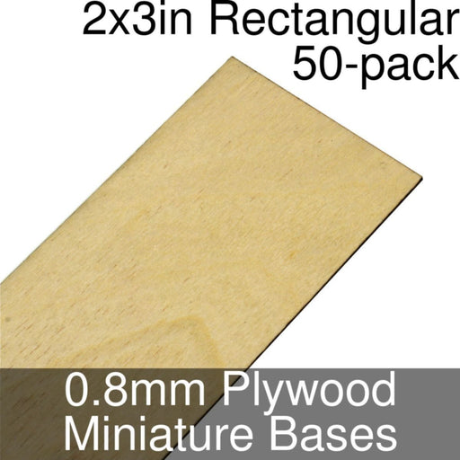 Miniature Bases, Rectangular, 2x3inch, 0.8mm Plywood (50) - LITKO Game Accessories