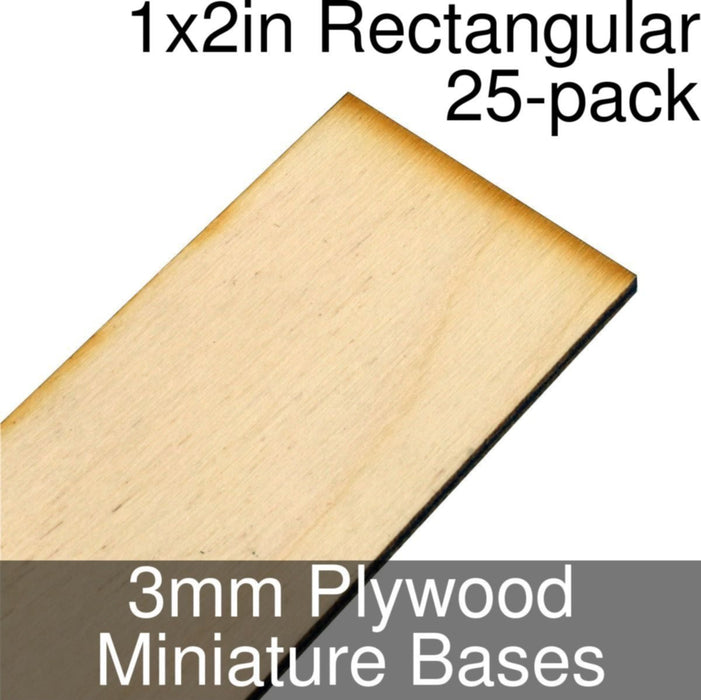 Miniature Bases, Rectangular, 1x2inch, 3mm Plywood (25) - LITKO Game Accessories