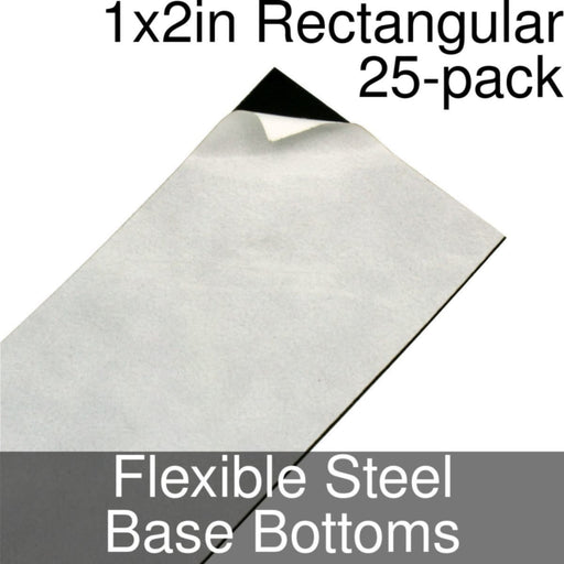 Miniature Base Bottoms, Rectangular, 1x2inch, Flexible Steel (25) - LITKO Game Accessories