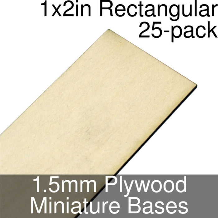 Miniature Bases, Rectangular, 1x2inch, 1.5mm Plywood (25) - LITKO Game Accessories