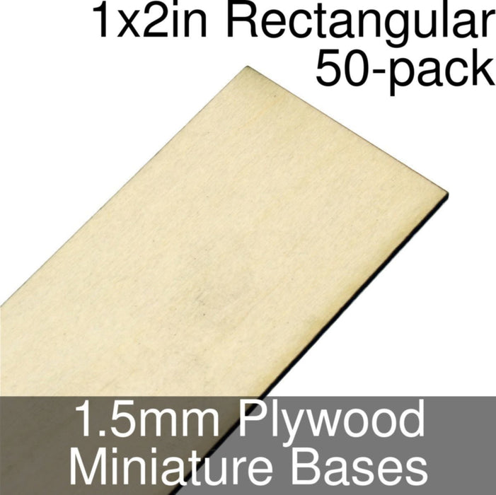 Miniature Bases, Rectangular, 1x2inch, 1.5mm Plywood (50) - LITKO Game Accessories