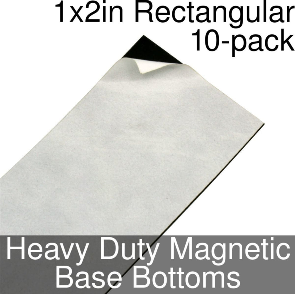 Miniature Base Bottoms, Rectangular, 1x2inch, Heavy Duty Magnet (10) - LITKO Game Accessories