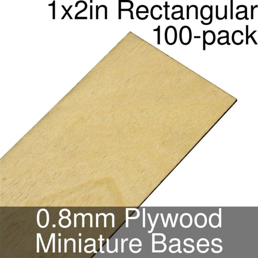 Miniature Bases, Rectangular, 1x2inch, 0.8mm Plywood (100) - LITKO Game Accessories
