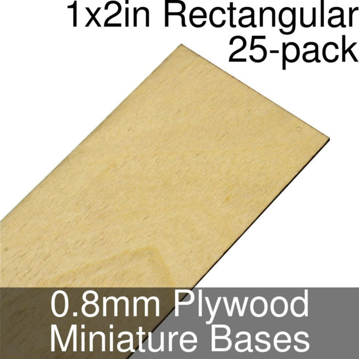 Miniature Bases, Rectangular, 1x2inch, 0.8mm Plywood (25) - LITKO Game Accessories