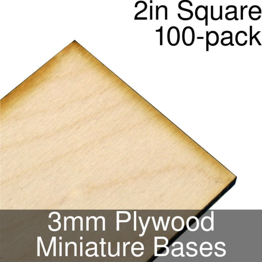 Miniature Bases, Square, 2inch, 3mm Plywood (100) - LITKO Game Accessories