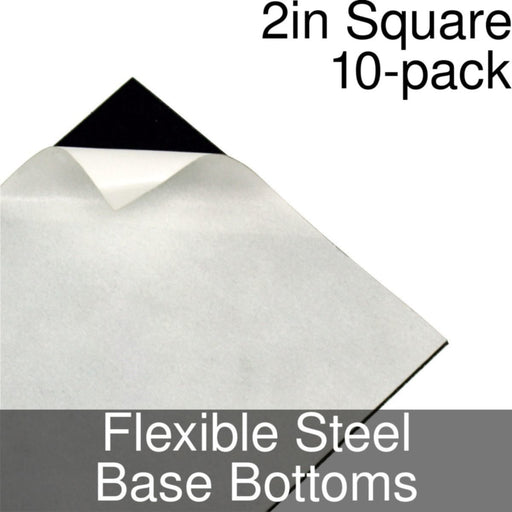 Miniature Base Bottoms, Square, 2inch, Flexible Steel (10) - LITKO Game Accessories
