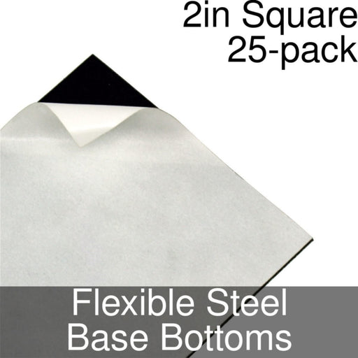 Miniature Base Bottoms, Square, 2inch, Flexible Steel (25) - LITKO Game Accessories
