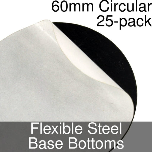 Miniature Base Bottoms, Circular, 60mm, Flexible Steel (25) - LITKO Game Accessories