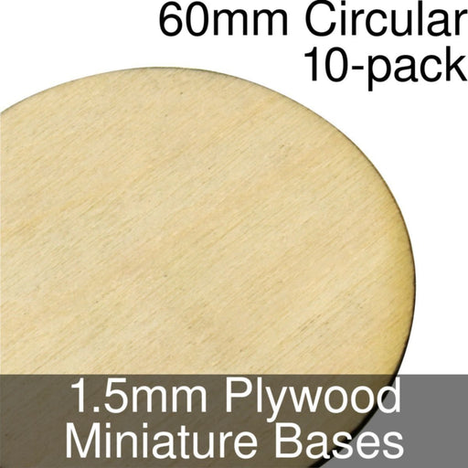 Miniature Bases, Circular, 60mm, 1.5mm Plywood (10) - LITKO Game Accessories