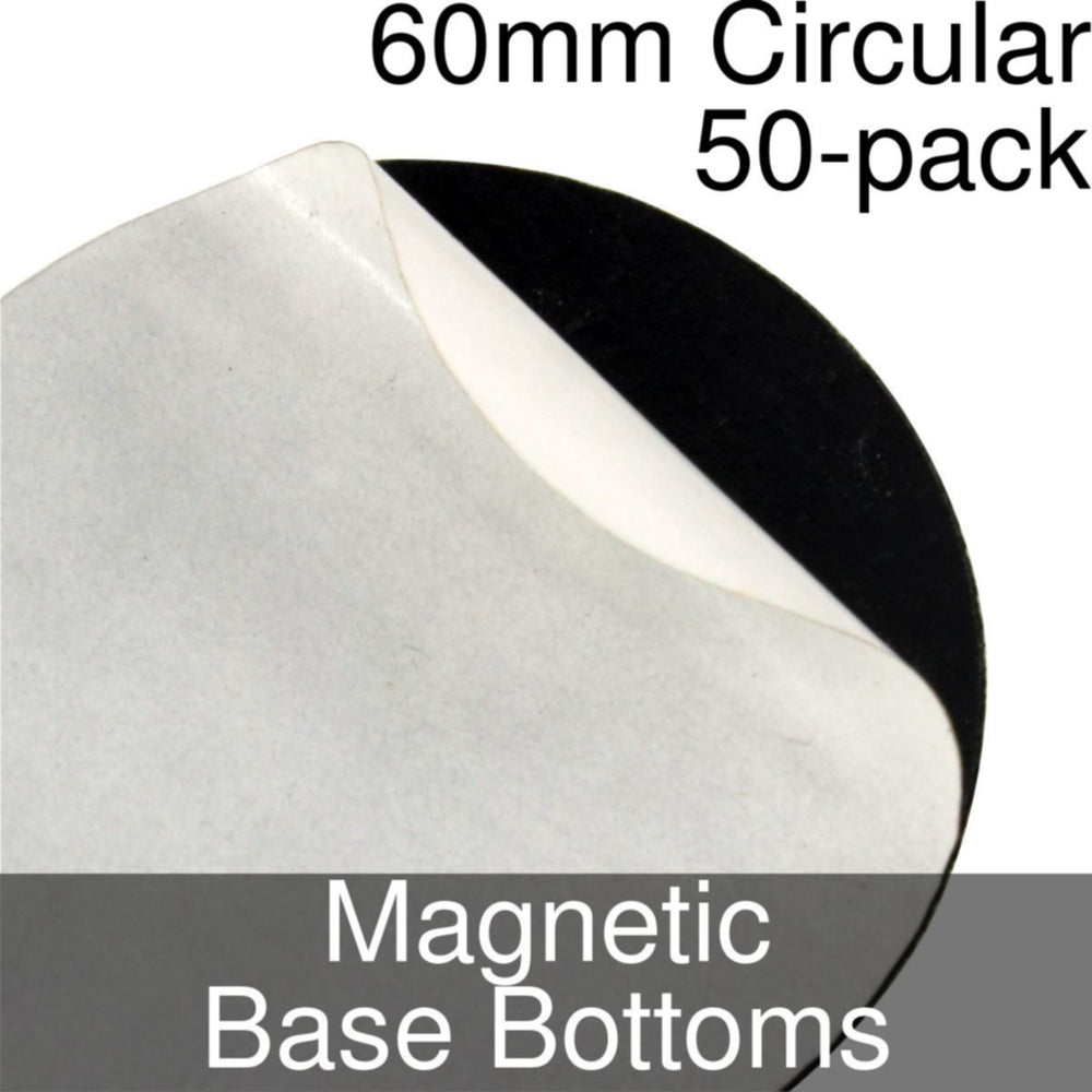 Miniature Base Bottoms, Circular, 60mm, Magnet (50) - LITKO Game Accessories