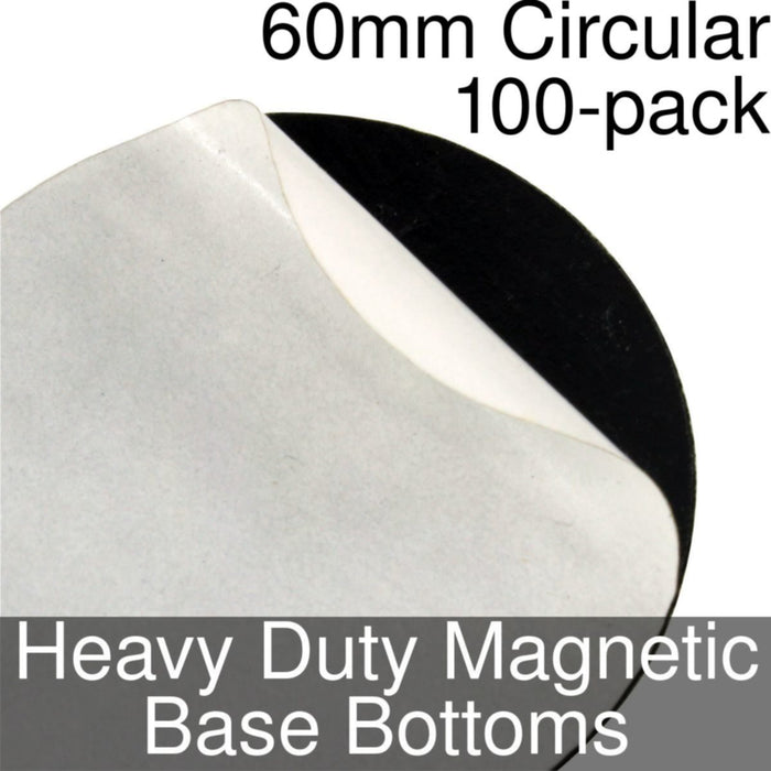 Miniature Base Bottoms, Circular, 60mm, Heavy Duty Magnet (100) - LITKO Game Accessories