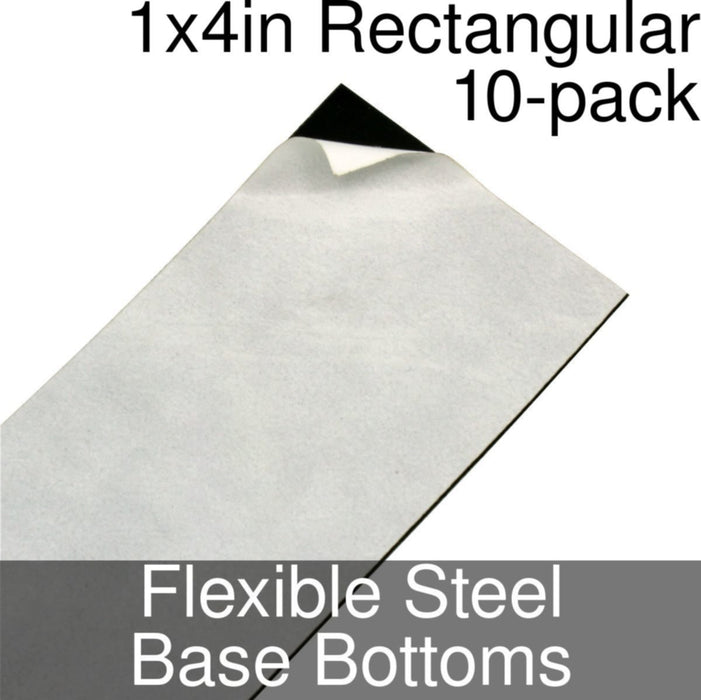 Miniature Base Bottoms, Rectangular, 1x4inch, Flexible Steel (10) - LITKO Game Accessories