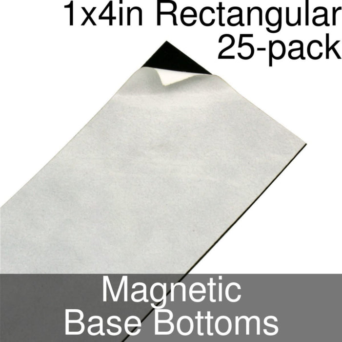 Miniature Base Bottoms, Rectangular, 1x4inch, Magnet (25) - LITKO Game Accessories