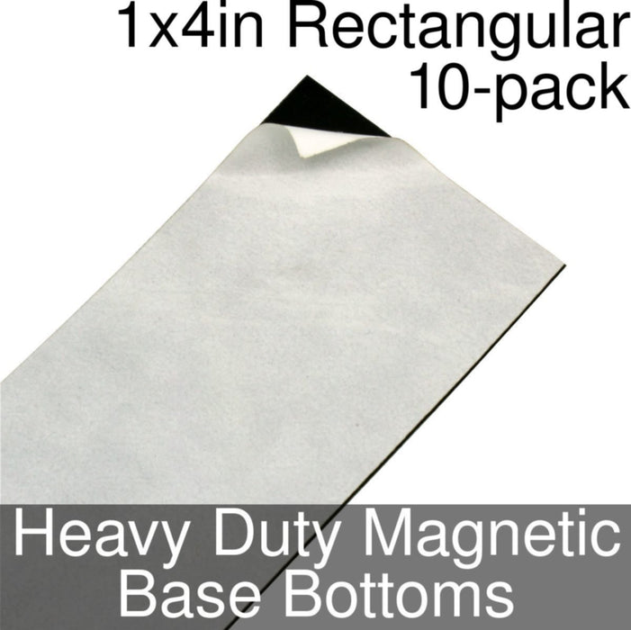 Miniature Base Bottoms, Rectangular, 1x4inch, Heavy Duty Magnet (10) - LITKO Game Accessories