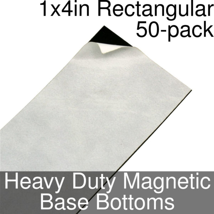 Miniature Base Bottoms, Rectangular, 1x4inch, Heavy Duty Magnet (50) - LITKO Game Accessories