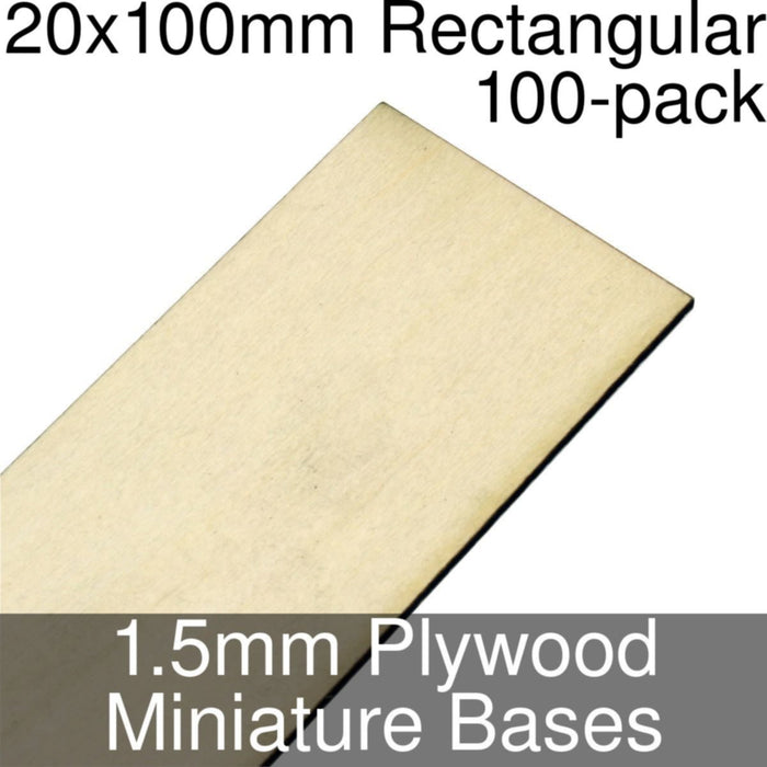 Miniature Bases, Rectangular, 20x100mm, 1.5mm Plywood (100) - LITKO Game Accessories