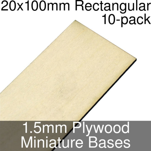 Miniature Bases, Rectangular, 20x100mm, 1.5mm Plywood (10) - LITKO Game Accessories