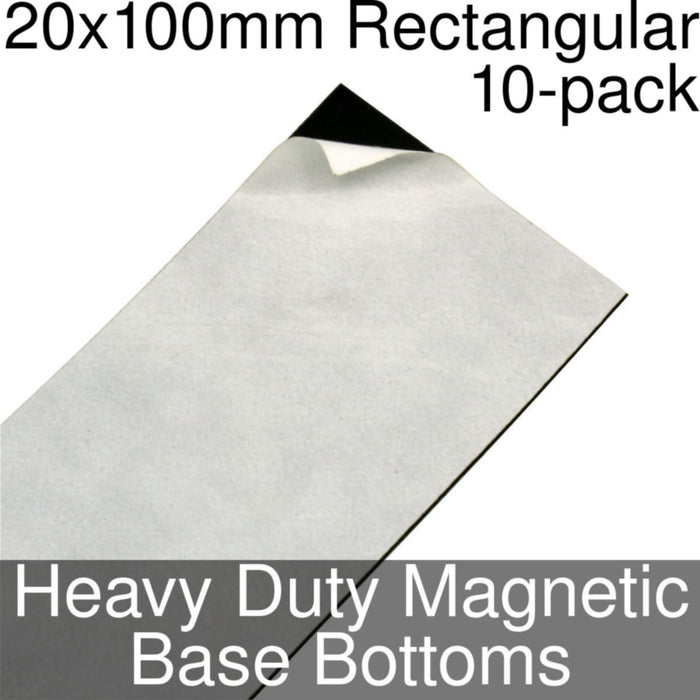 Miniature Base Bottoms, Rectangular, 20x100mm, Heavy Duty Magnet (10) - LITKO Game Accessories